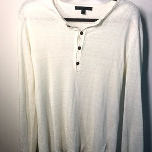 John Varvatos Linen White Ribbed Henley Sweater